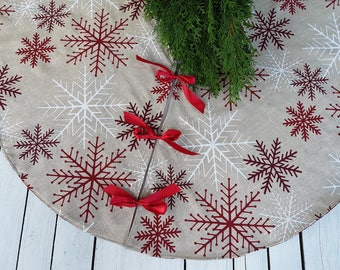 Snowflake tree skirt, Christmas tree skirt.