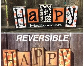 SALE--Reversible Halloween and Thanksgiving wood blocks- Happy Halloween reverses with Happy Thanksgiving wood blocks