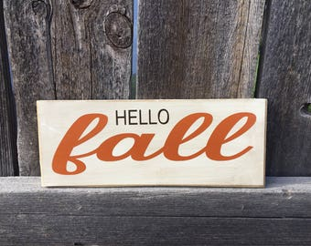 Hello Fall wood sign, Fall Sign, Autumn sign, Thanksgiving wood sign