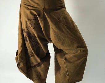 HC0199 Super soft samurai pants with Coconut button up cotton pants