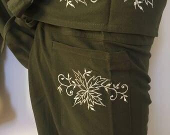 FP0070 Thai Fisherman Pants with Thai hand woven fabric on waist side, Wide Leg pants, Wrap pants, Unisex pants