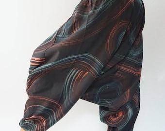 HC0438 Aladdin Pants, Harem Pants 100% Cotton Harem Pants Unisex Low Crotch Yoga Trousers