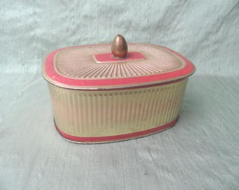 Art Deco red and gold tin / vintage West Germany storage tin canister