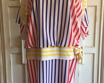 Vintage 1980's Chez California Striped Boxy Cut Oversized Nautical Sailor Inspired Dress, Size 12/14