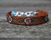 Sterling Turquoise Leather Bracelet . Mosaic Leather. Boho. Turquoise .Hand Stamped. Leather .Bracelet. Boho .