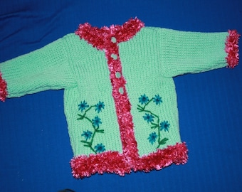 gilet18 month green and pink