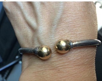SALE Vintage sterling silver bangle cuff goldplated tips