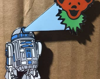 "1.25""- Orange R2D2 & Dancing Bear Star Wars pin. Grateful Dead. Owsley Stanley. Dead and Company"