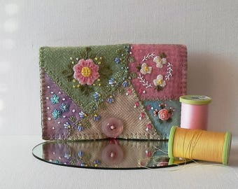 Handmade Pastel Felted Wool Crazy Patch Needle Book