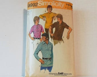 Vintage Simplicity Pattern 9992 Size Medium Mens Knit Shirt Collection 1972