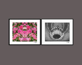 Roses and Chandeliers Photo Set, Fine Art Photography, Gallery Wall Art, Photography Gift, Set of Two, Modern Gilt Photography, Opulent Art