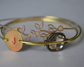 Closeout item--------- Olive Branch Bangle Set. Initial Bangle Set. Jewelry -Bridesmaid  Gift .#