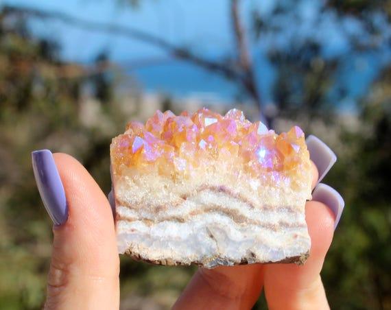 Citrus blossom aura cuartz - rainbow quartz cluster - opal aura quartz