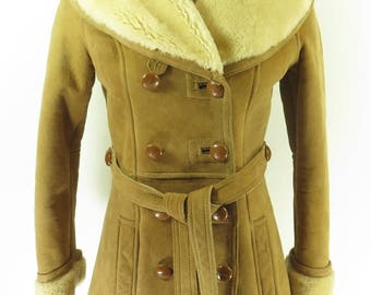 Vintage 60s Sheepskin Shearling Overcoat Womens 8 Deadstock Brown French Creek [H77B_4-4_Fur]