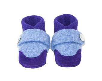 Kids Wool Shoes, Toddler Slippers, from Recycled Wool & Non Slip Suede Leather, kids size 7.0 - 11.5