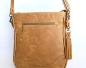 Completed Custom Order for Bec Touzel:  Sassy Satchel in Distressed Biscuit Brown bovine leather