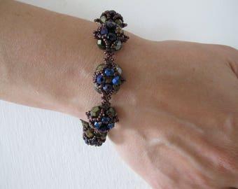 Purple - Black Beaded Bracelet Christmas Gift
