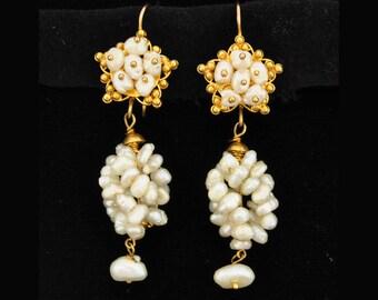 Vintage Mexican 10K Gold Pearl Clusters Ramos Earrings Oaxaca