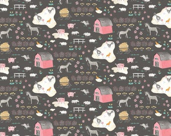 NEW! Pre-Order Sale, Tiny Farm Grey, Fabric Yard, Hill & Dale Collection 2017, by Ana Davis For Blend Fabrics, 113.113.05.1