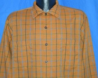 50s McGregor Scotset Brown Plaid Shirt Large