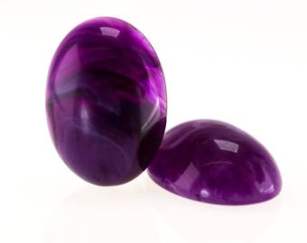 18x13 Oval cabochon in pansy purple 4Pcs