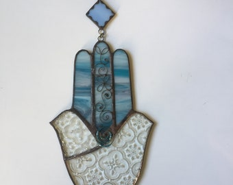 TWO DOVES HAMSA - Blue and clear glass w/ Filigree and Beads.