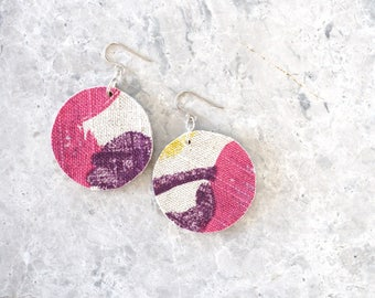 Large Round Earrings, Pink and Purple Dangle Earrings, Fabric Jewellery, Bold and Abstract Design, Statement Earrings for Women