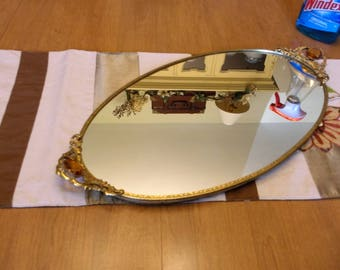 "Large Ornate Antique Gold Ormulu Mirror Oval Dresser Tray Vintage Mid Century Mirrored Dresser Tray 21"" Long"