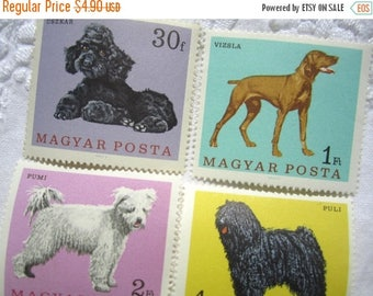 ON SALE Dogs - 4 Hungarian Mint Postage Stamps Set - Postage Stamp Ephemera - Stamps for Scrapbooking, Paper Crafts, Jewelry, Cards, Collage