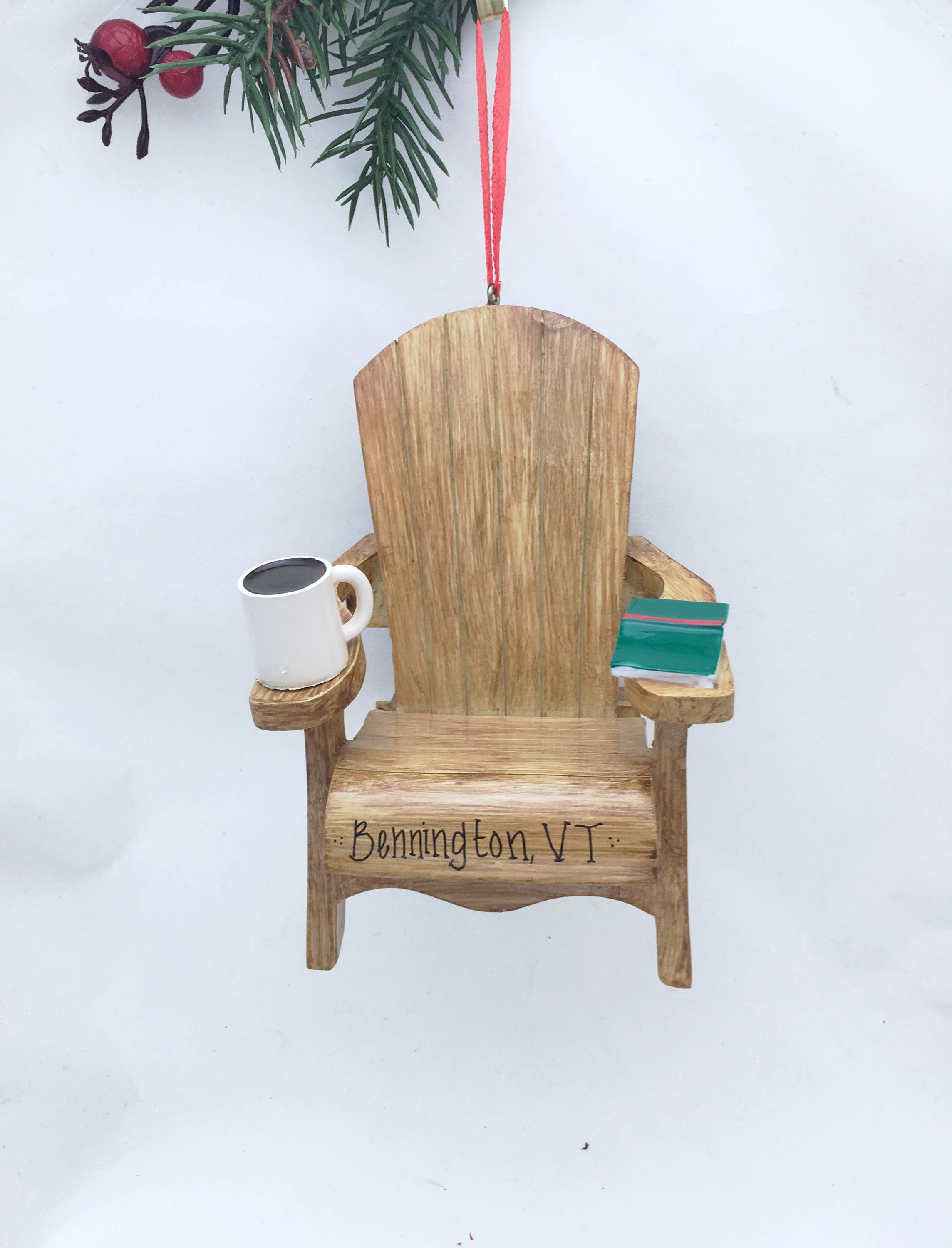 Wooden Adirondack Chair With Coffee And Book Personalized Christmas  Ornament / Personalized Ornament