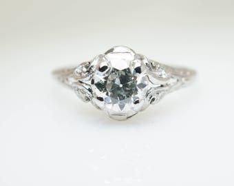 Platinum .62CTW Old European Cut Art Deco Engagement Ring Intricate Filigree Ring Vintage Wedding Ring Art Deco Jewelry
