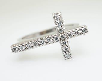 Elegant .20CTW Diamond Cross Ring 14k White Gold Cross Jewelry Christian Ring Confirmation Gift