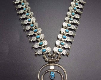 NAVAJO Sterling Silver & Turquoise Boxxbow SQUASH Blossom Necklace SMALLCANYON