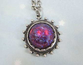 Mexican Fire Opal Necklace Pendant Dragons Breath Necklace Antiqued Silver