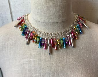 Knitting needle and beaded necklace, one of a kind, handmade