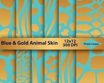 50% SALE Blue digital paper, gold animal skin, teal animal print, scrapbook paper, safari animals, golden paper pack, snake, giraffe, tiger,