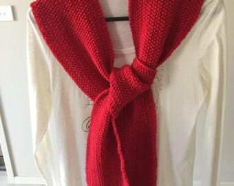 Women's handmade knitted red wool scarf, wool scarf, red knit scarf, red wool scarf, handmade knitted scarf