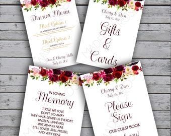 Watercolor Flower Wedding Signs Set of 4 - Card Stock Prints