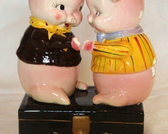 Vintage Ceramic Coin Bank with 2 Pigs on a Safe Box