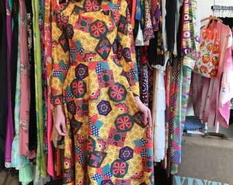 1970's Quilted Print Maxi Dress