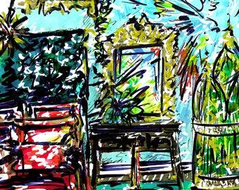 Limited Edition - Original Interior Illustration Print - Parrot Suite