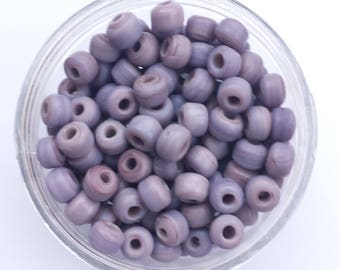 50 x Mauve Crow Glass Opaque Beads Size 9x6mm with a 3mm hole