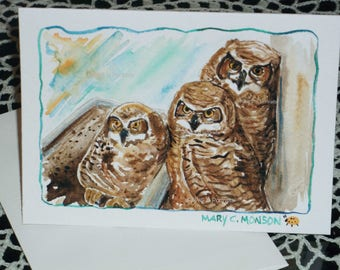 The 3 Amigo's-  Great Horned Owlets WATERCOLOR greeting card - ORIGINAL - Hand painted - FREE Shipping!