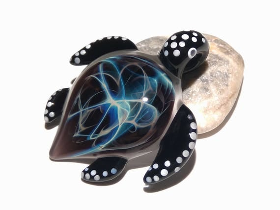 Blown Glass Sea Turtle Pendant - Necklace - Black Nova Turtle - Glass Jewelry - Glass Art - Heady Turtle - Handmade