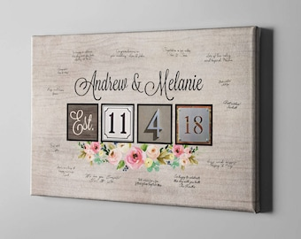SALE 50% Off Canvas Guest Book, Boho Floral Guest Book, Thumb Print Guest Book Alternative, Bridal Shower Gifts for Bride To Be - CGB133