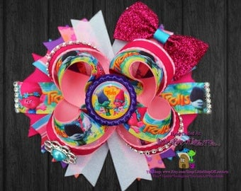 Trolls inspired deluxe large hair bow ready to ship