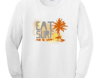 Cool Gift for Surfer Eat Surf and Be Happy Youth Long Sleeve T-Shirt  2400B - RV-85