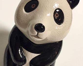 Vintage Retro Ceramic Panda Bear Figurine by Mann Collectible Panda Bear Decor