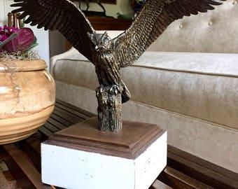 Vintage Owl Statue Sculpture Bronze Cast Metal Owl on a Walnut Wood Base