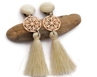 Tassel earrings, Clip on earrings, Ivory earrings, Bridesmaid gift, Fringe earrings, Clip tassel earrings, Bridal earrings, Wedding Jewelry